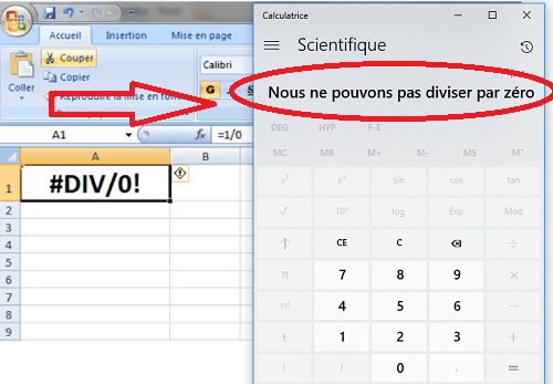 Tableur et calculatrice Windows 10 incapables de diviser par 0